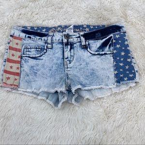 Blue asphalt patriotic jean shorts junior size 9